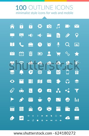 Flat web outline icons set with UI design elements and buttons for mobile application isolated vector illustration