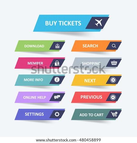 Flat Website Buttons Set