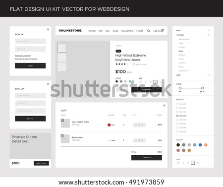 Flat website, mobile UI kit for onlineshop. Vector forms, product  card, cart, buttons, search bar and menu. Creative web design.  Vector EPS10 Illustration