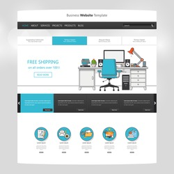 Flat Website Template Vector Eps10, Modern Web Design with UI elements. Ideal for Business layout
