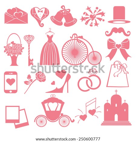 Flat wedding  icons ,symbols  for Web and Mobile.Set of  wedding items,pink silhouette.Vintage vector.Holiday infographics