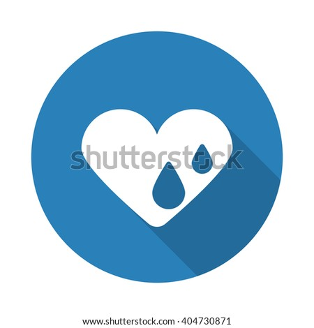 flat white heart water web icon