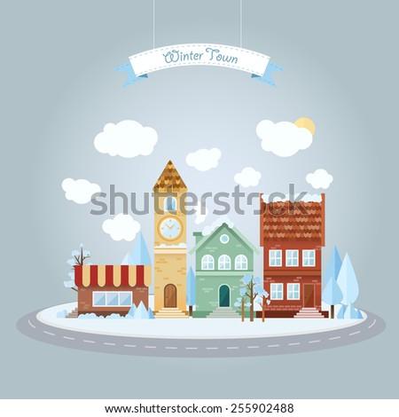 flat winter town vector