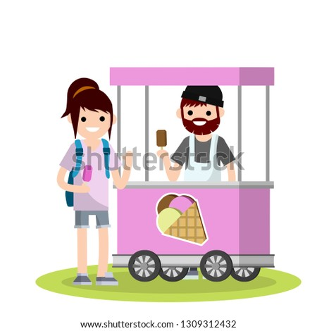 Flat Woman with a backpack buys ice cream in the cart. Buying and selling sweets. Summer small business. The seller of the chocolate cone. Work of students. Cartoon illustration