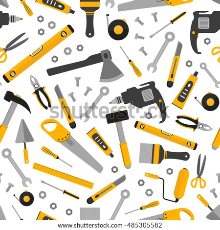 Flat working home tools seamless pattern. Construction and home repair instruments. Hand drill, glue, screwdriver, saw and pliers, level, hammer and scissors. Vector