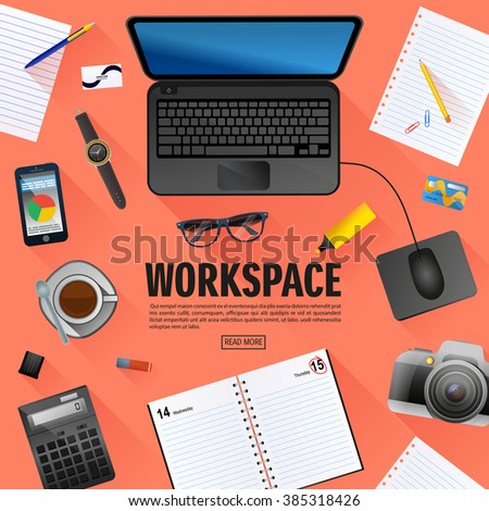Flat workspace banner for creative project,  web sites, business, finance. Vector, flat style. - Shutterstock ID 385318426