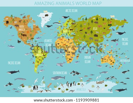 Flat world flora and fauna map constructor elements. Animals, birds and sea life isolated big set. Build your own geography infographics collection. Vector illustration - Shutterstock ID 1193909881