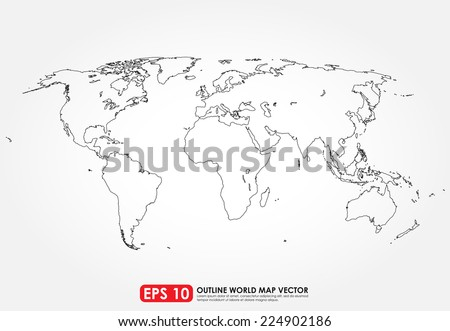 White outline world map vector download free vector art stock flat world map outline gumiabroncs Gallery