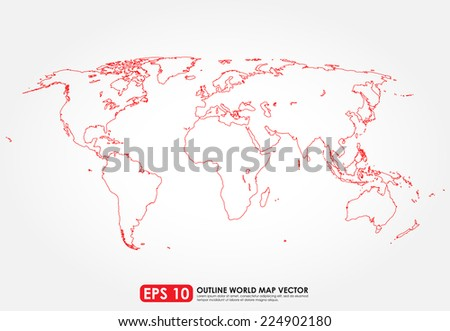 White outline world map vector download free vector art stock flat world map outline in red color sciox Choice Image