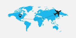Flat world map with airplane illustration vector illustration
