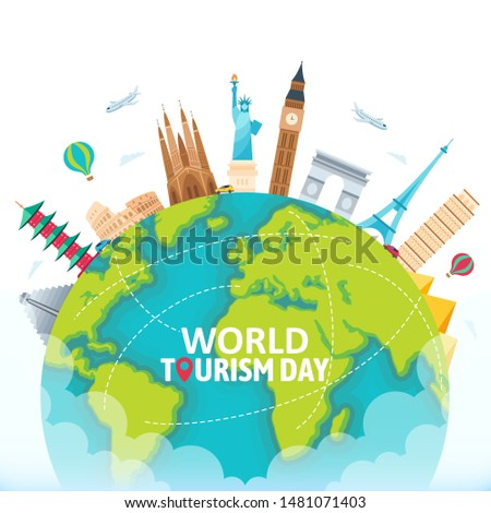 Flat World Tourism Day with landmarks and transportation - vector