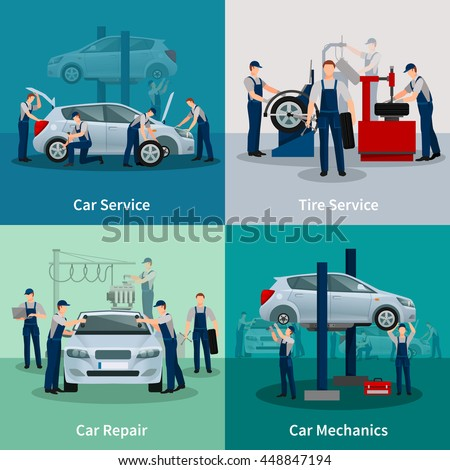 Flat 2x2 compositions presenting work process in car and tire services car repair and car mechanics vector illustration
