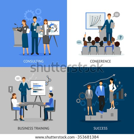 Flat 2x2 images set of business education by consultating conference business training and success vector illustration