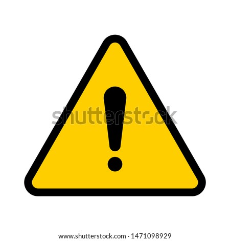 Flat yellow hazard warning symbol. Warning icon and sign of danger isolated on white background for use on web design, typography, ui, app, on the road and construction.