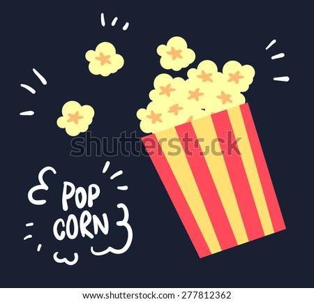 flat yellow popcorn on black background illustration vector
