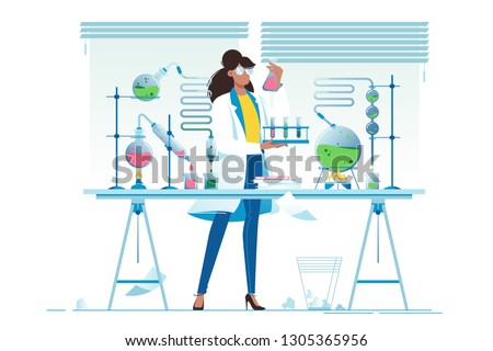 Flat young beauty woman chemist with flasks with liquid. Concept scientific girl is experimenting with equipment. Vector illustration.