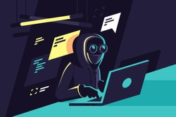 Flat young hacker programmer with laptop hacks programms and site. Concept modern man character, network security. Vector illustration.