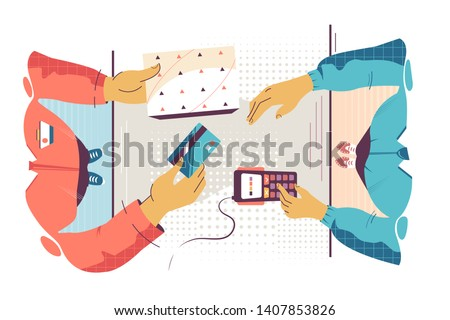 Flat young man employee calculates cost of purchase. Concept customer and businessman characters with card and modern payment terminal device. Vector illustration. Stock foto ©