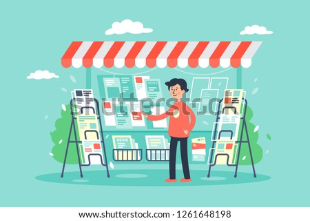 Flat young man newsagent in newsstand sells newspapers. Concept market, sale of magazines. Vector illustration.