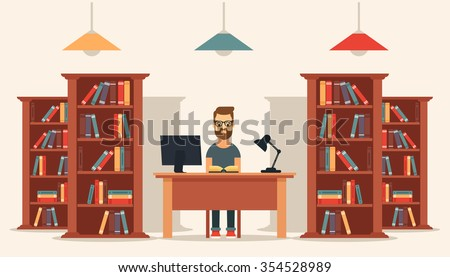 Flat Young Man Sitting in the Library and Reading a Book. Bookcases on Background. Colorful Vector Illustration