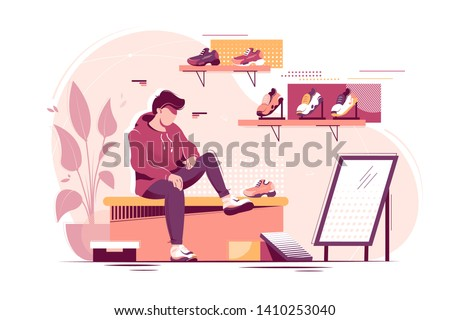 Flat young man trying measure sneakers in store. Concept student character in sport shoe shop. Vector illustration. ストックフォト ©