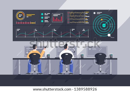 Flat young men employee with screens with charts at control center. Concept businessman character at work in space tracking company. Vector illustration.