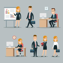Flat young smiley businesspeople at meeting and working places vector illustration set. Business working process concept. Man, woman at the table, partners shaking hand, businesswoman making report.
