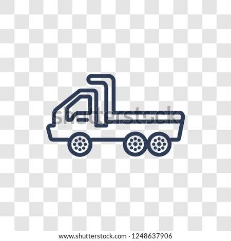 flatbed lorry icon. Trendy linear flatbed lorry logo concept on transparent background from Transportation collection