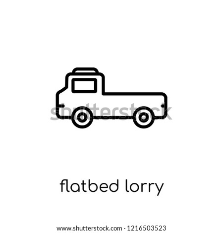 flatbed lorry icon. Trendy modern flat linear vector flatbed lorry icon on white background from thin line Transportation collection, outline vector illustration