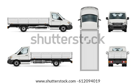 Flatbed truck vector illustration. Isolated white lorry. All layers and groups well organized for easy editing and recolor. View from side, back, front and top.