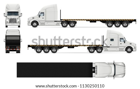 Flatbed truck vector mockup on white for vehicle branding, corporate identity. View from side, front, back, and top. All elements in the groups on separate layers for easy editing and recolor.