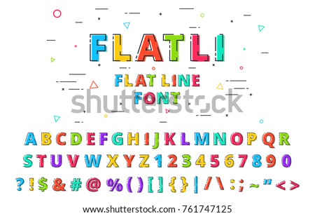 FLATLI. Flat line font. Latin alphabet , numbers, symbols. Cute modern bold typeface with capital symbols. Vector illustration