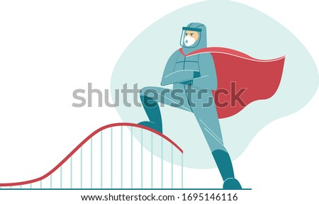 Flatten the curve. Coronavirus COVID-19 preventing a sharp peak of infections. Doctor wearing full protective gear in superhero cape work to flatten the curve to slow COVID-19 infection.Flat vector
