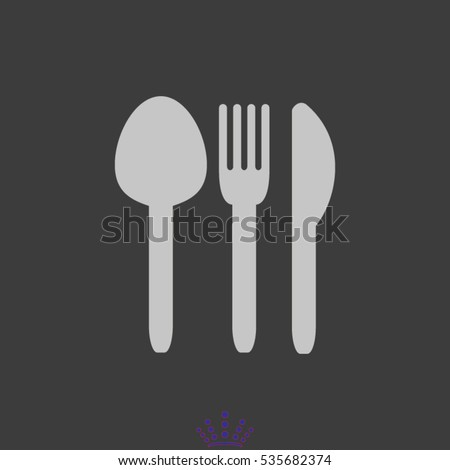 flatware, fork, spoon, knife, icon, vector illustration EPS 10