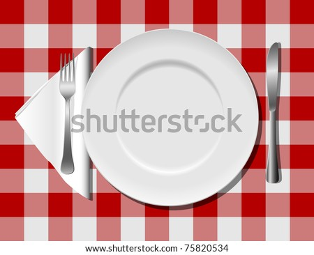 Flatware on checkered tablecloth eps8