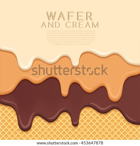 Flavored Cream Melted on Wafer  Background : Vector Illustration
