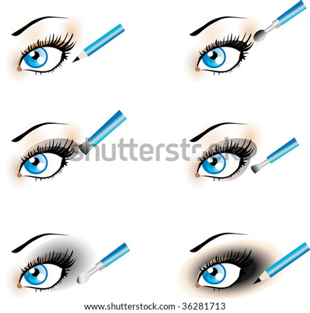 stock vector : Flawless Eye Makeup icons. Makeup Trends - Black Shadow