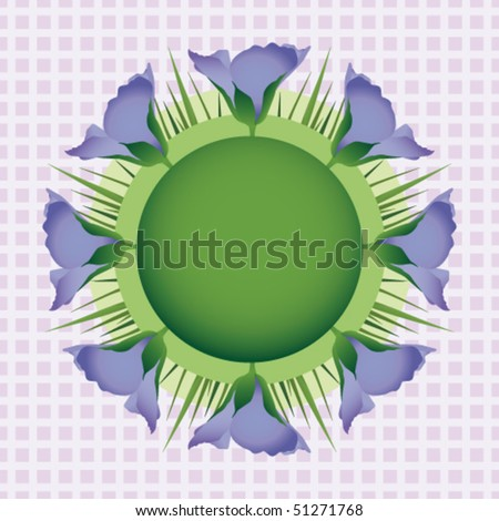 Flax flowers with leaves on a background check