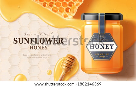 Flay lay of honey jar over liquid with honey dipper in 3d illustration on honeycomb engraved background