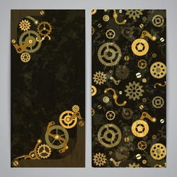 Flayer templates with bronze steampunk decor