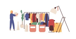 Flea market, clothing bazaar flat vector illustration. Female customer faceless character. Rag fair merchandise selection. Cheap goods, bargain, dress crossing. Swap meet, fashion designers market.