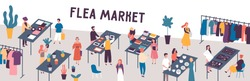 Flea market flat vector illustration. Sellers and customers faceless characters. Rag fair items buying. Swap meet. Cheap goods, junk, purchase, bargain. Bazaar, fashion designers market.