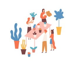 Flea market, flower fair flat vector illustration. Female sellers and buyers cartoon characters. Houseplants market. Plants assortment, greenery, bargain, cheap herbs. Bazaar, trade place.
