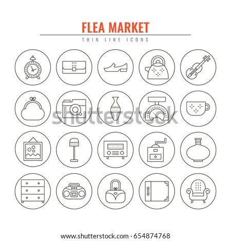 flea market outline icons....