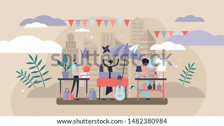 Flea market vector illustration. Flat tiny swap meet event persons concept. Ancient product collection bazaar in household event. Urban street fair with vendors merchandise and collectible used staff.