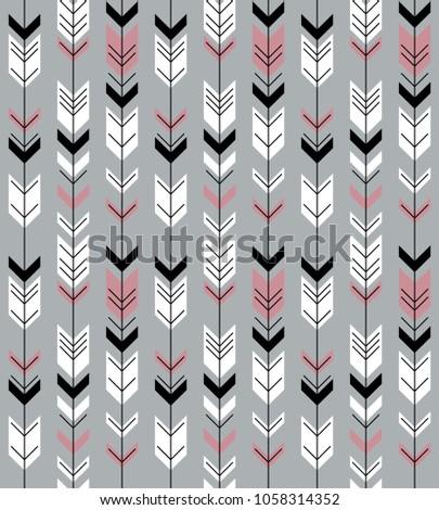 Fletching Arrows Seamless Pattern Grey. Vector.