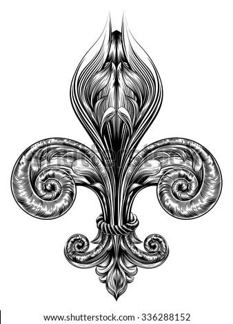 Fleur de lis decorative design element or heraldic symbol in a vintage woodblock style