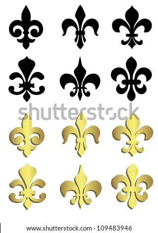 Fleur de lis in black and gold