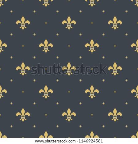 fleur-de-lis royal, luxury seamless pattern background. new orlean ornament with diagonal golden heraldic symbol fleur-de-lis and dots. vector illustration Photo stock ©