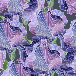 Fleur de lis. Seamless floral pattern. Hand drawn illustration of a purple iris. Beautiful flowers.